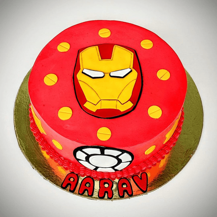 Iron Man Mask Cake with Red and Yellow Dots Base