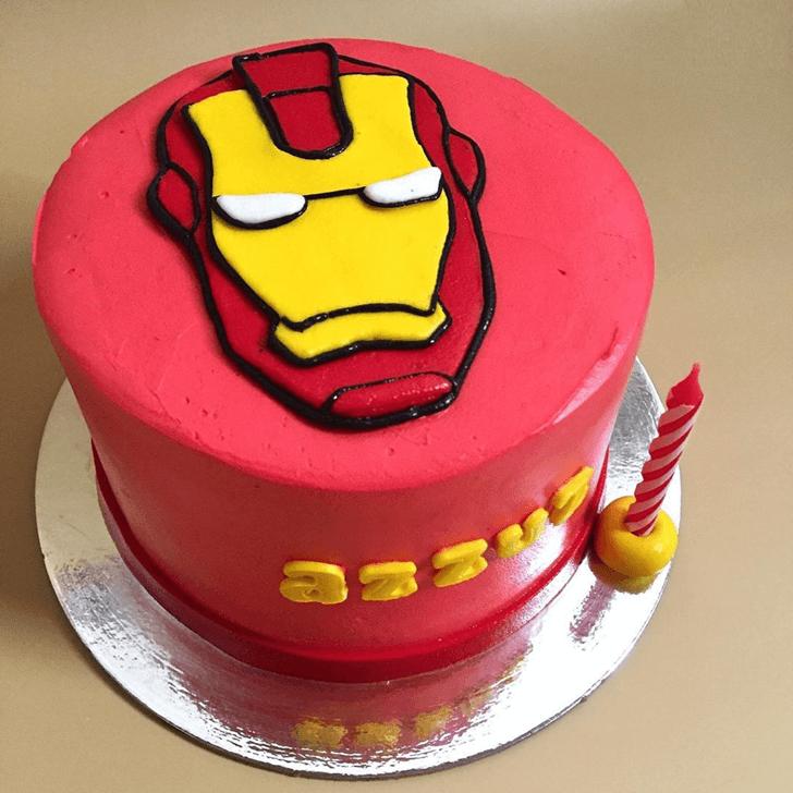 Iron Man Mask Cake with Red Base
