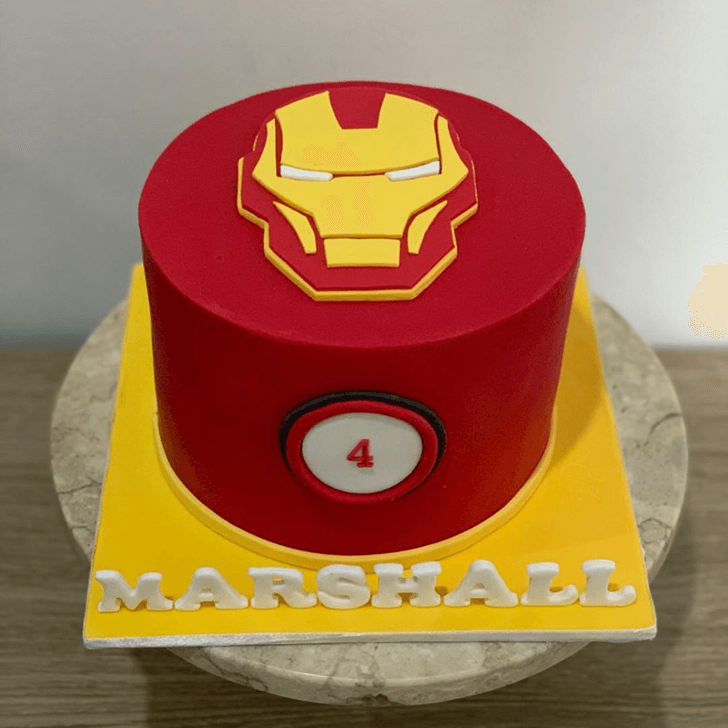 Iron Man Mask Cake with Red and Yellow Base