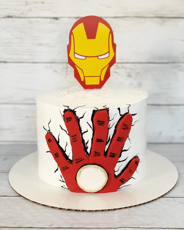 Iron Man Mask Cake with White Base