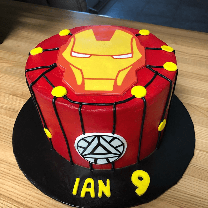Iron Man Mask Cake with Red Red and Yellow Base