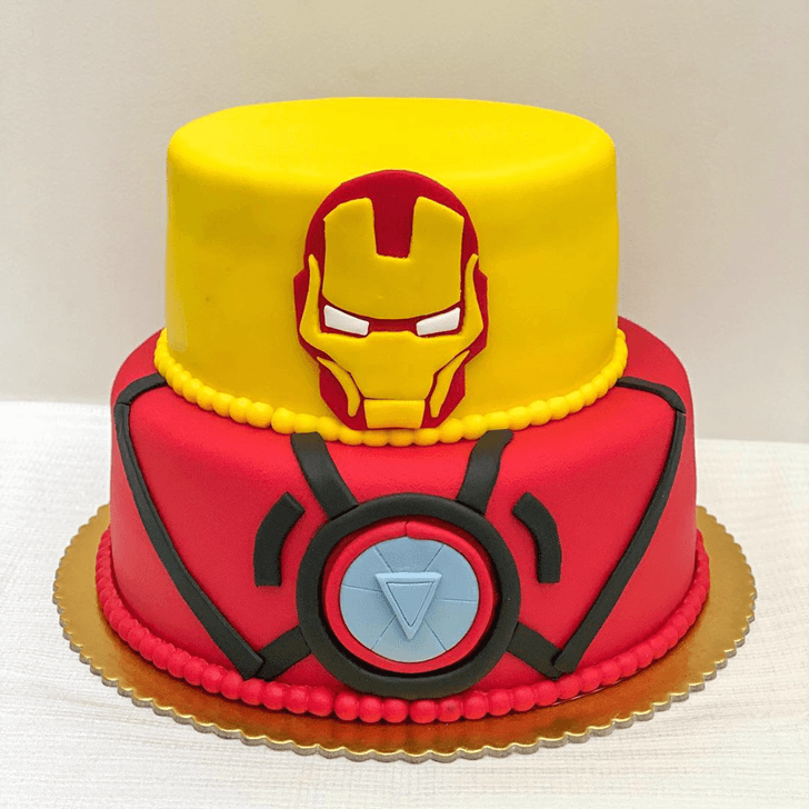 Iron Man Cake with Red and Black Base