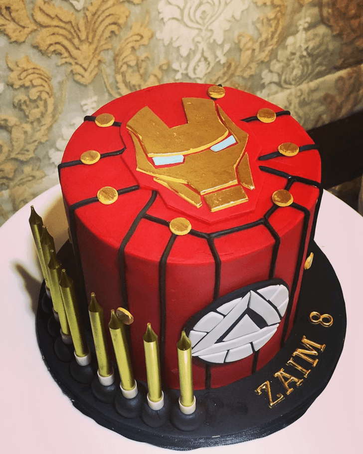 Golden Iron Man Cake with Red and Black Base