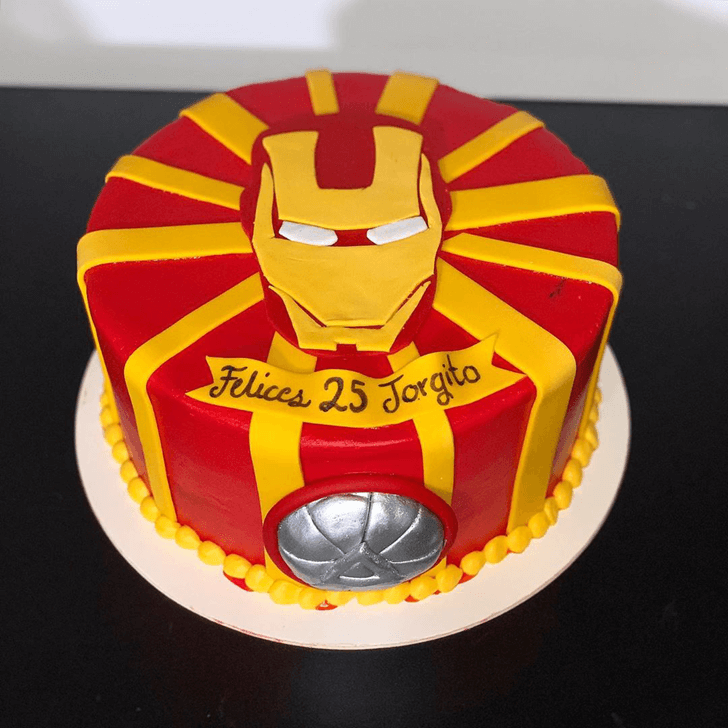 Iron Man Mask Cake with Red and Yellow Strips Base