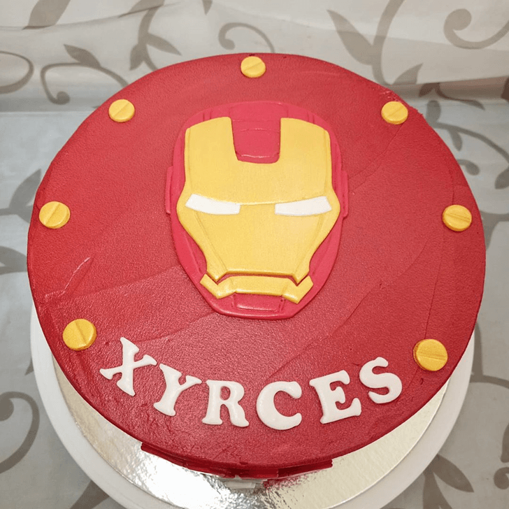 Angry Iron Man Mask Cake with Red Base
