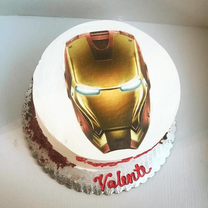 Iron Man Mark 3 Mask Cake with White Base