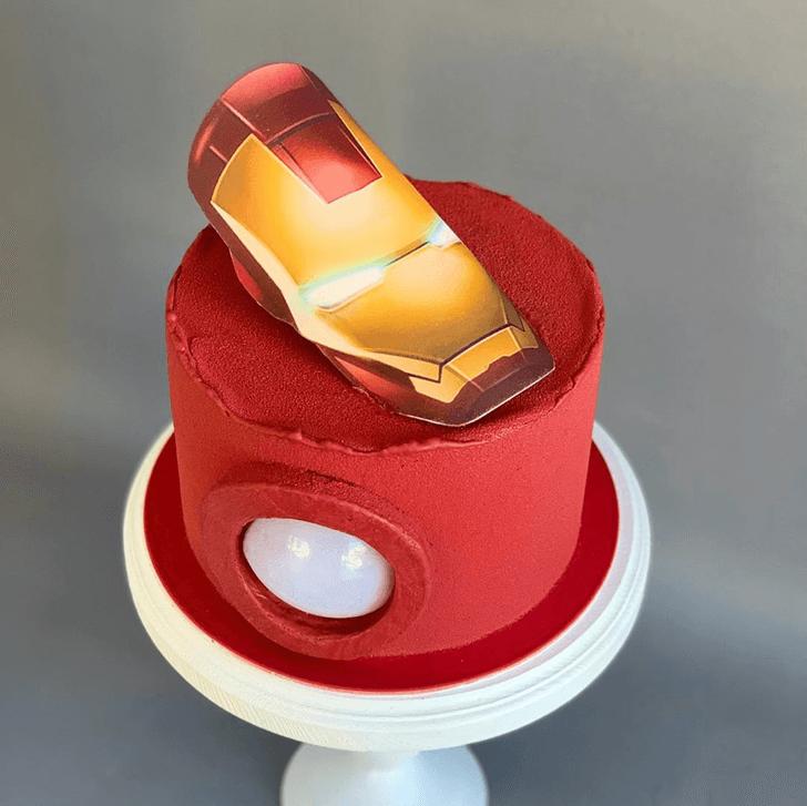 Iron Man Arc Reactor Cake with Red Base