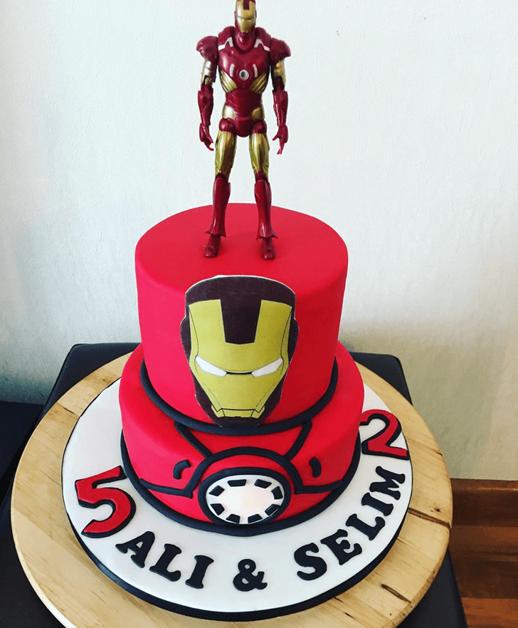 Iron Man Cake with Mask and Red White Base
