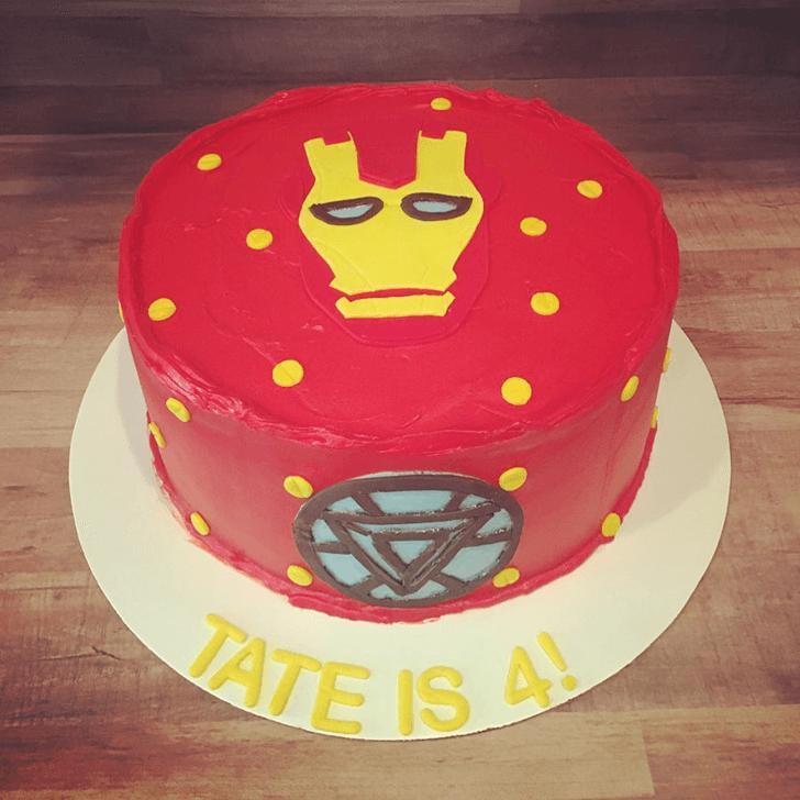 Iron Man Mask Cake with Red White Base