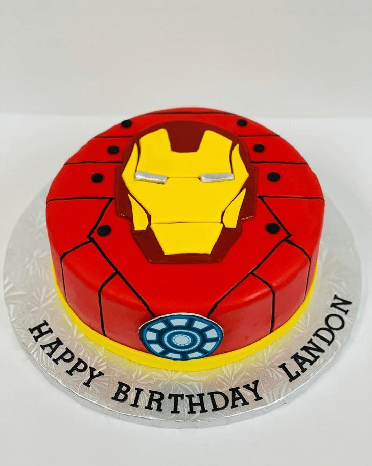 Iron Man Mask Arc Reactor Cake with Red Base