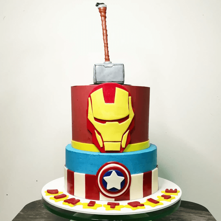 Iron Man Avengers Cake with Red Blue White Base