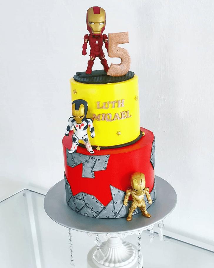 Iron Man 3 Cake with Yellow Red Black Base