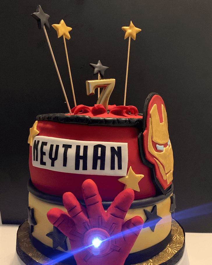 Iron Man Hand Cake with Red Golden Base
