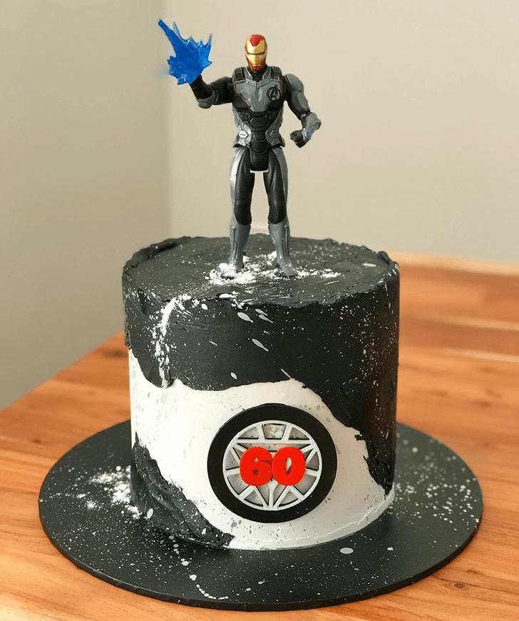 Iron Man Endgame Cake with Grey Base