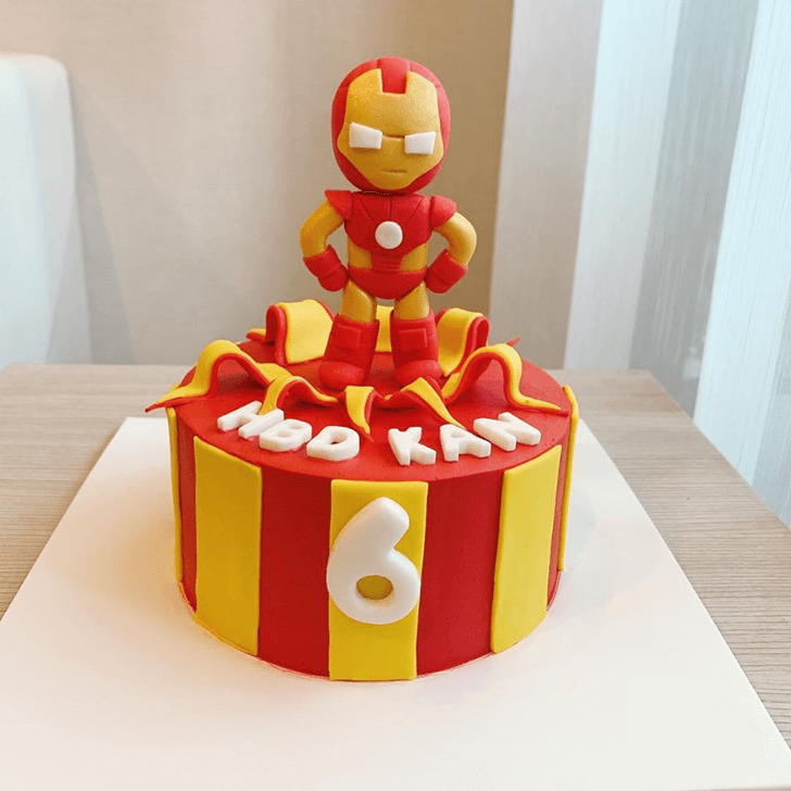Iron Man Red Yellow Strip Cake