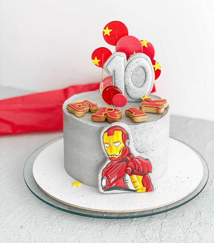 Iron Man Cake with Grey Base