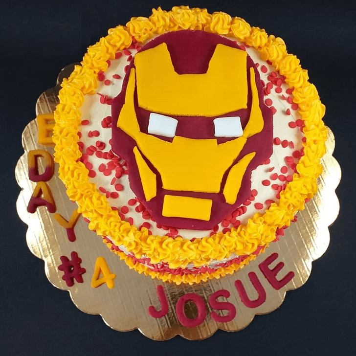 Cute Iron Man Cake with White Yellow Base