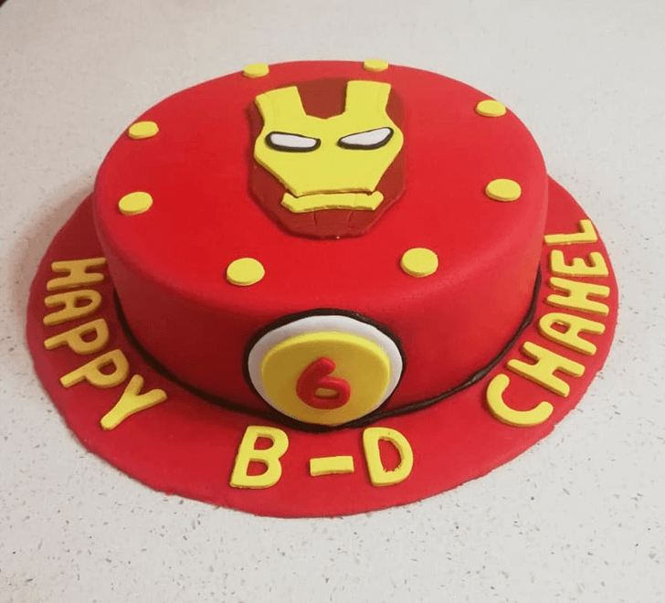 Iron Man Face cake with Red Base