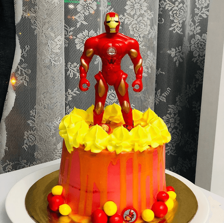 Iron Man Toy Cake with Red Yellow Base