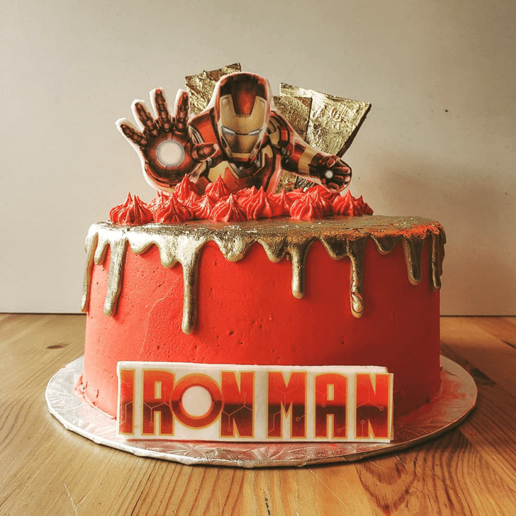 Angry Iron Man Cake with Red Base