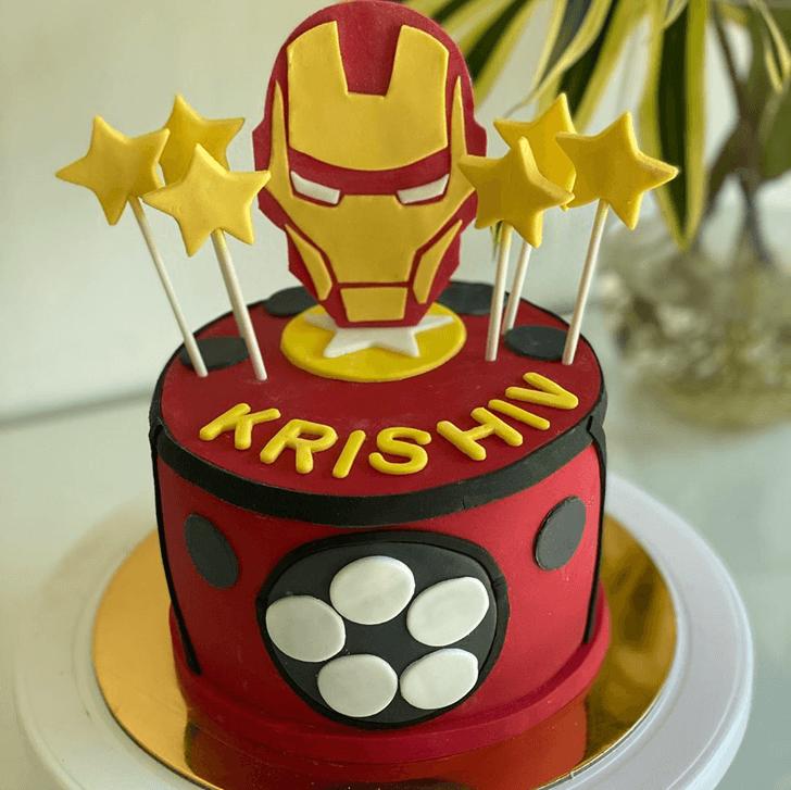 Iron Man Star Cake with Red Black base