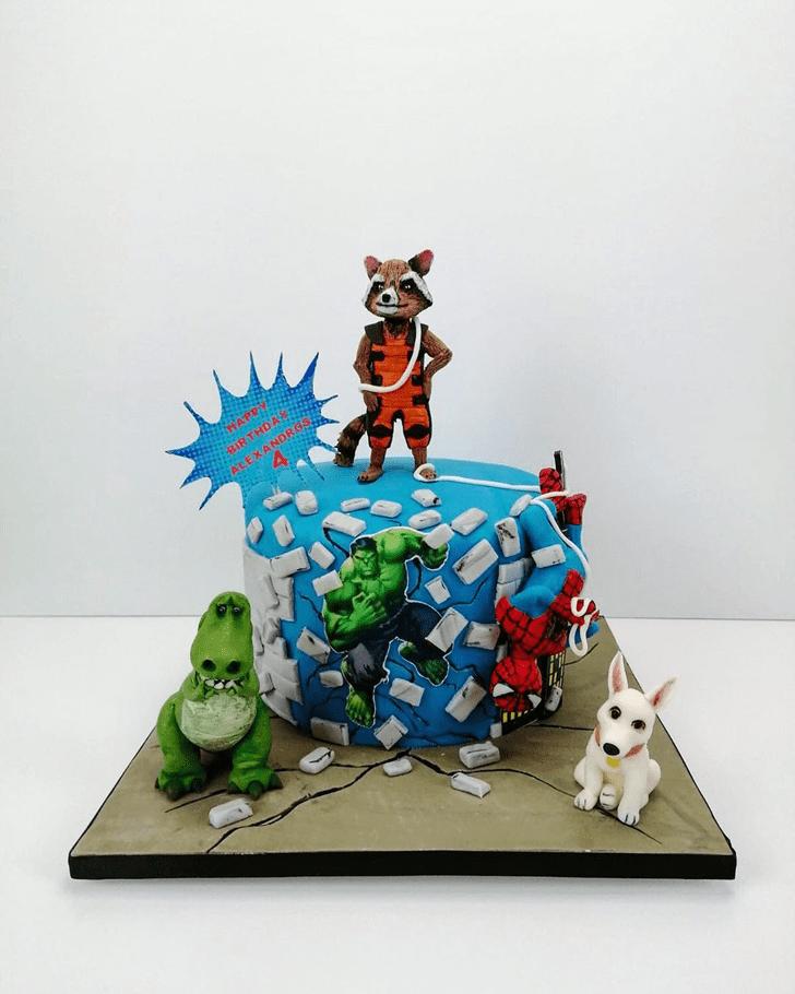 Bewitching Rocket Raccoon Cake