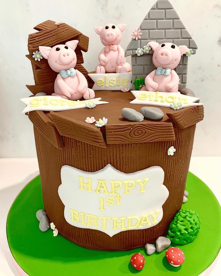 Angelic Three Little Pigs Cake