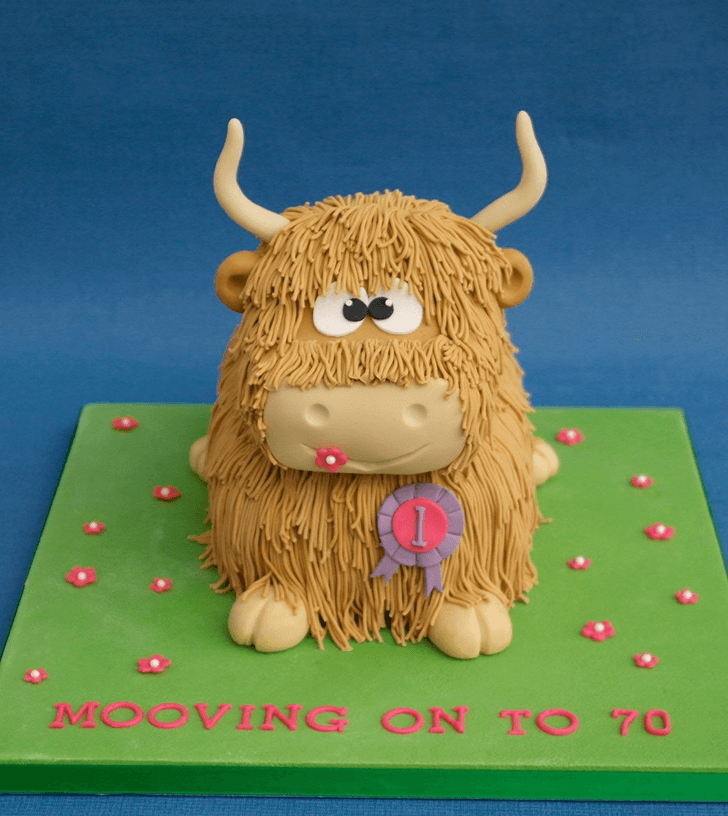 Cute Yak Cake with Green Base