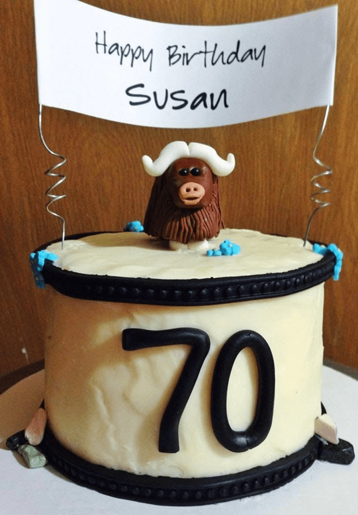 Yak Head Cake with Beige Base