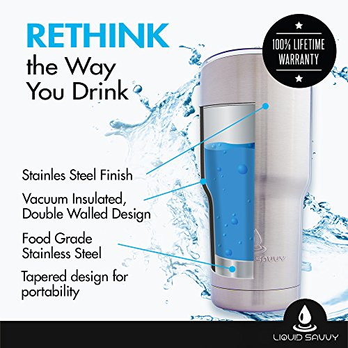 Liquid Savvy Stainless Steel 30 oz Tumbler with Leak Proof Lid  Double  Walled Vacuum Insulated Large Travel Coffee Cup/Mug for Hot and Cold  Beverages