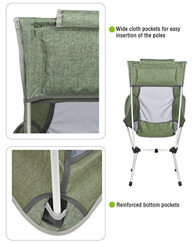 lightweight folding chairs hiking leather marchway high back camping chair with headrest