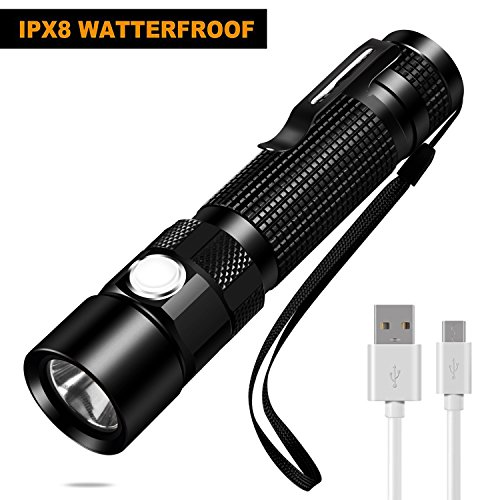 BEIKE USB Rechargeable Flashlight IPX8 Waterproof Small Portable LED Flashlight with Clip for Camping Hiking Emergency EDC 18650 Battery Included