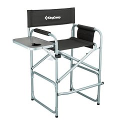 Tall Folding Chairs Directors Cheap Plastic Lounge Kingcamp Director Chair Collapsible With Side Table Cup Holder
