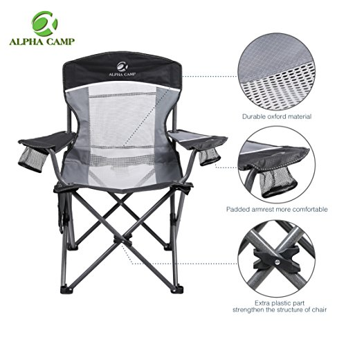 padded camping chair cheap ivory covers alpha camp oversized folding portable mesh