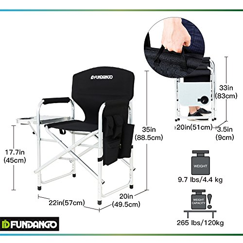 heavy duty folding chair with side table portable and chairs fundango aluminum director s