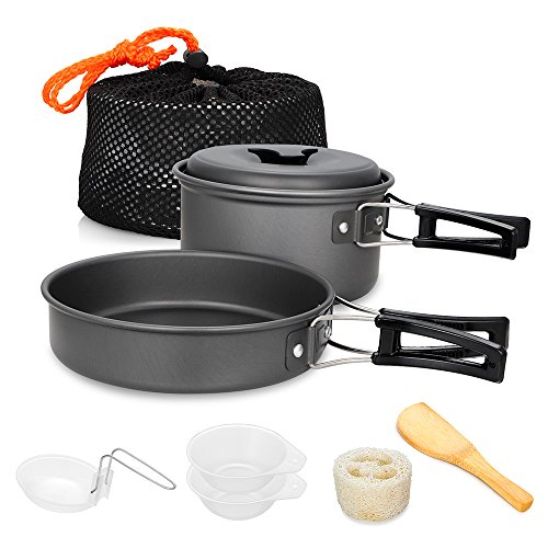 Cooking Survival Kit For Camping Outdoor Camping Pot Pan Bowl Cookware 8-pc Kit