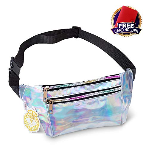 Festival Trip,Party Rave Holographic Fanny Pack for Women and Men Metallic Waterproof Shiny Fanny Packs with Adjustable Belt Fashion Waist Bum Bag for Hiking
