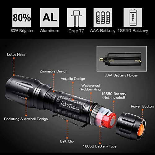 Powerful Waterproof Flashlight Outdoor Emergency Biking Batteries Not Included 2 Pack - Best Flashlight for Home Camping InkoTimes LED Flashlight
