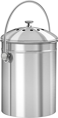 Utopia Kitchen Stainless Steel Compost Bin for Kitchen Countertop - 1.3  Gallon Compost Bucket Kitchen Pail Compost with Lid - Includes 1 Spare ...