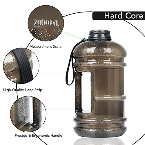 Half Gallon Water Bottle Dishwasher Safe 2.2L Tritan BPA Free 75oz Big Capacity Leakproof Odorless Half Gallon Water Jug Daily Hydration Fitness Gear Water Bottle for Camping Hiking Outdoor Activities
