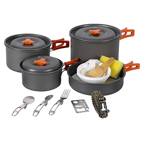 Redcamp 9 12 18 23 Pcs Camping Cookware Mess Kit With Kettle Aluminum Lightweight Folding Camping Pots And Pans Set For Best Camp Kitchen