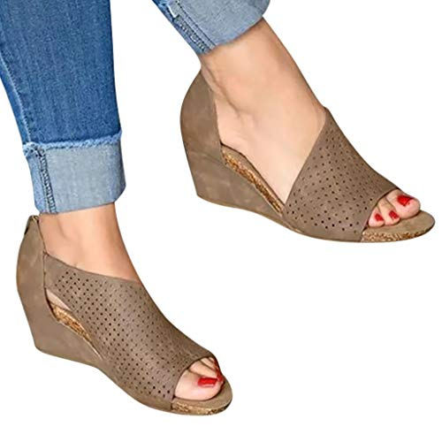 Sllve hive Women's Retro Hollow Platform Wedges Sandals Solid Color Open Toe Zipper Roman Beach Shoes