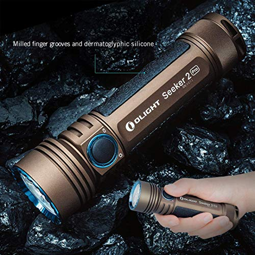 Magnetic USB Rechargeable 21700 with Battery Power and Brightness Level Indicator Desert Tan Olight Seeker 2 PRO 3200 Lumens LED Flashlight