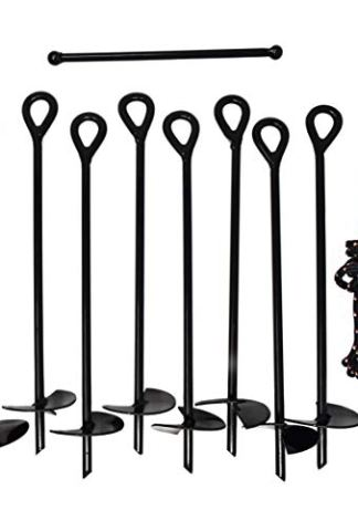 Ground Anchor Kit 3 Wide Helix Rope Carrying Sack /& Eight Heavy Duty Rods Includes Torque Bar 3//8 Diameter Stake Shaft Set of 8 Earth Augers 15 Long