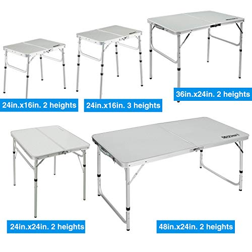 Foldable Picnic Table for Outdoor Kitchen Garden Parties REDCAMP 2ft//3ft//4ft//6ft Folding Camping Table with Adjustable Height