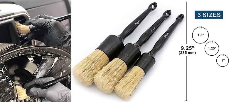 Proper Detailing Co. Car Detailing Brush Set Three Premium Auto Detail Brushes