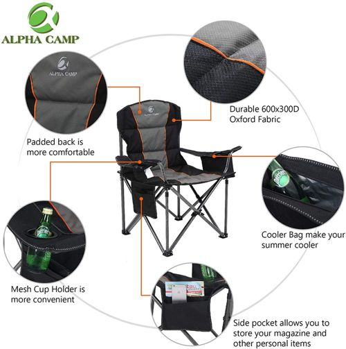 ALPHA CAMP Oversized Camping Folding Chair 2
