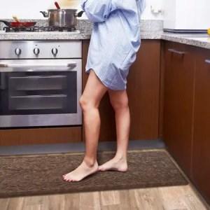 KMAT Ergonomic Cushioned Anti-Fatigue Kitchen Mat - Waterproof Rugs for Hardwood Floors
