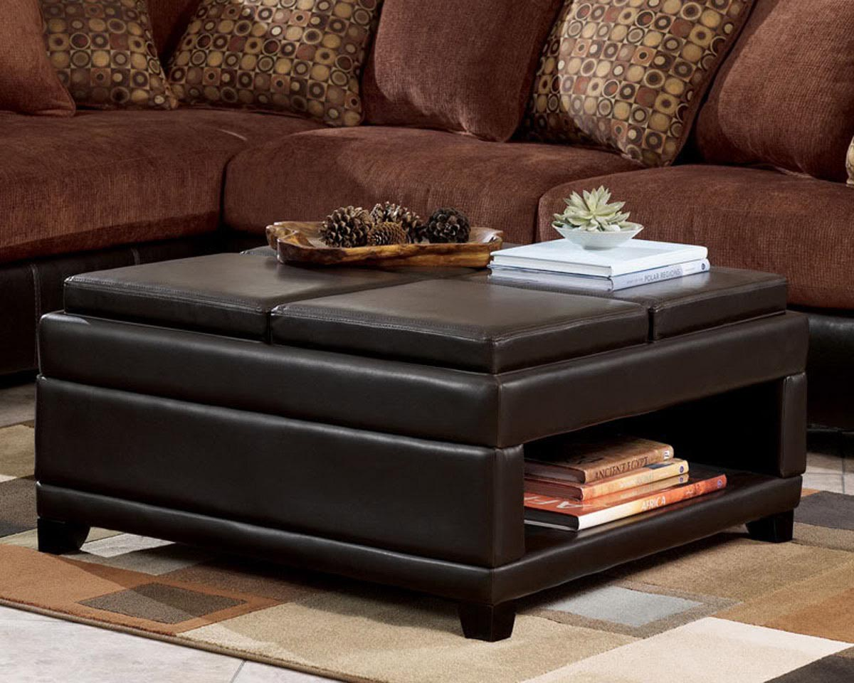 Large Leather Tufted Ottoman