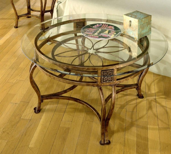 Round Metal and Glass Coffee Table